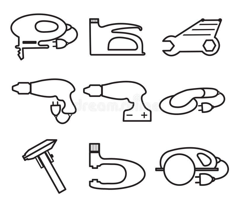 Mechanics Tools icons, modern line style. Element logo , isolated on a white background. Vector illustration royalty free illustration