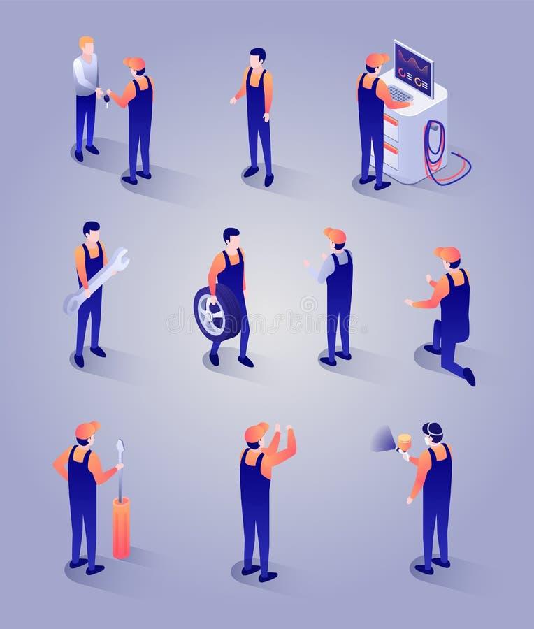 Mechanicy z narzędziami i wyposażenie Isometric setem ilustracji