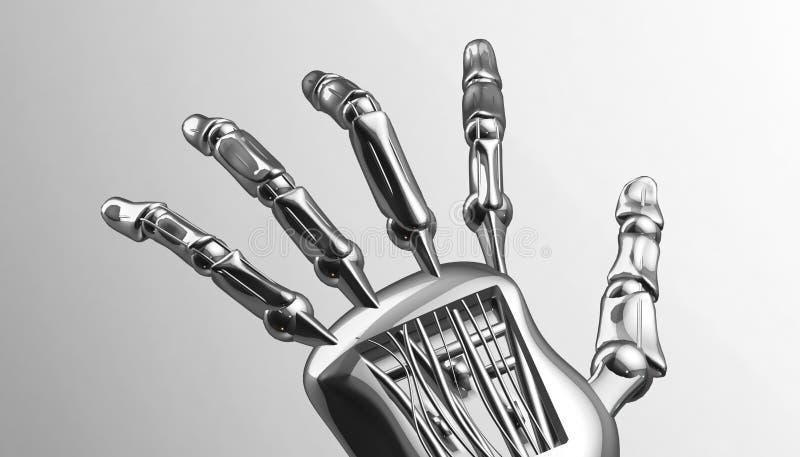 Mechaniczna machinalna cybernetyczna metal ręka świadczenia 3 d ilustracja wektor