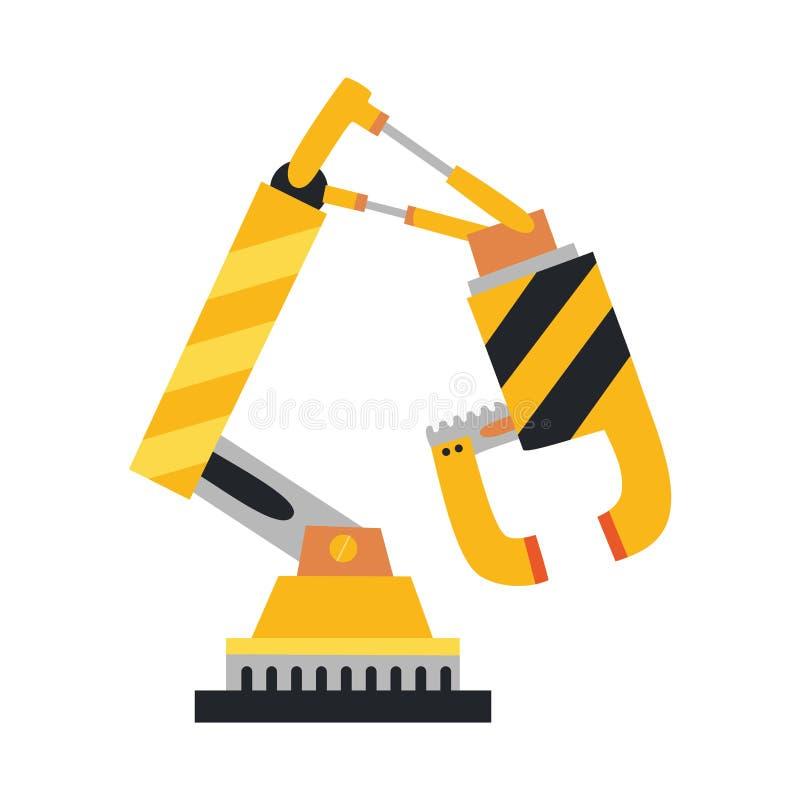 Mechaniczna ręka, ręka Wektorowe robot ikony ustawiać Przemysłowa technologia i fabryczni symbole Płaska ilustracja odizolowywają ilustracji