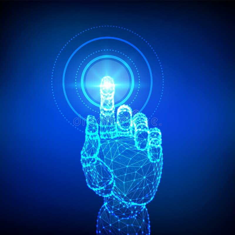 Mechaniczna r?ka dotyka cyfrowego interfejs Rzeczywisto?? wirtualna Dotyka przysz?o?ciowego niskiego poli- wireframe Poj?cie komu royalty ilustracja