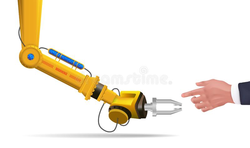 Mechaniczna ręka futurystyczny HUD Robot ręki dotyka istota ludzka royalty ilustracja