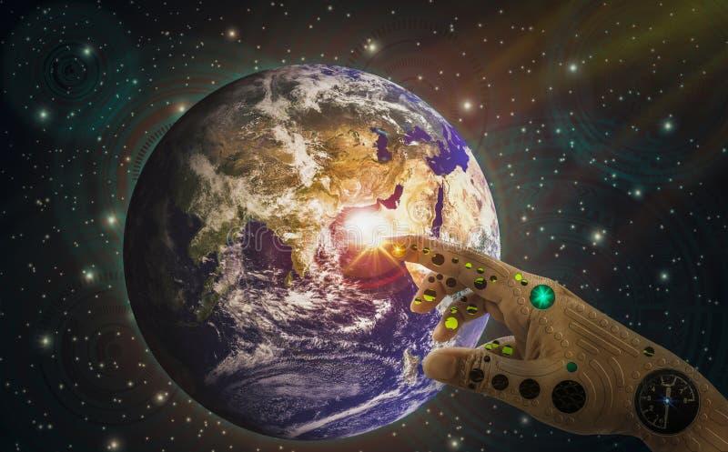 Mechaniczna ręka palca dotyka ziemia, tło technologii kosmicznej głębokie ikony, duch świat, nauki popieranie i istota ludzka Med ilustracji
