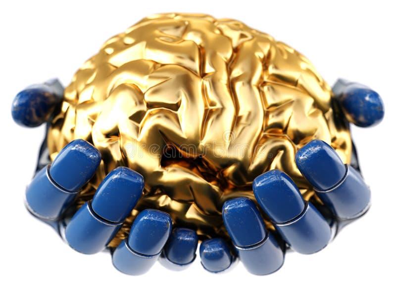 Mechaniczna ręka trzyma złotego ludzkiego mózg royalty ilustracja