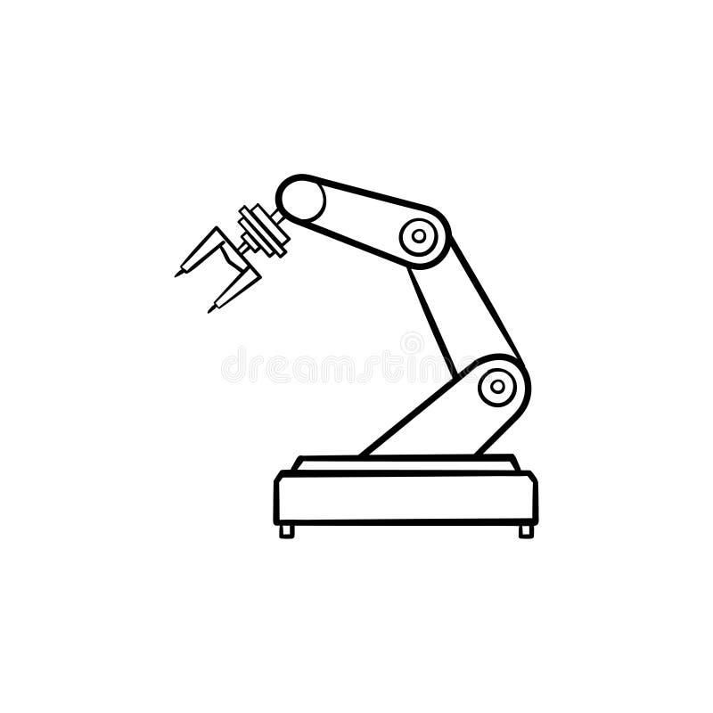 Mechaniczna ręki ręki konturu doodle rysująca ikona