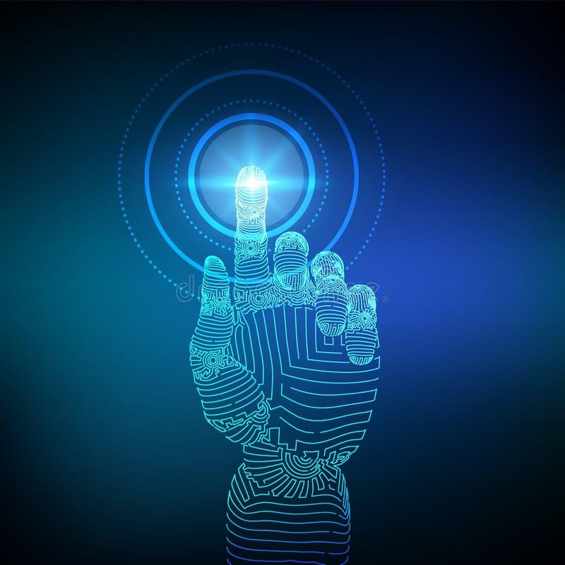 Mechaniczna r?ka dotyka cyfrowego interfejs Rzeczywisto?? wirtualna Dotyka przysz?o?ciow? wireframe ilustracj? Poj?cie komunikacy ilustracji