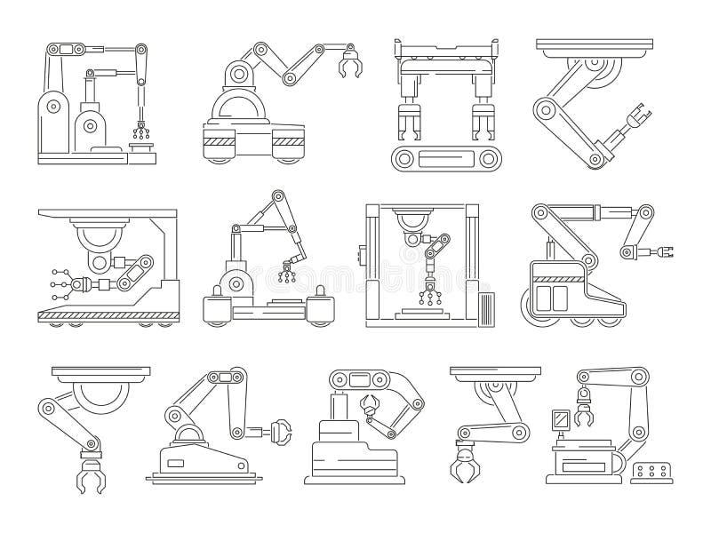 Mechaniczne maszyny dla produkci Mono kreskowi wektorów obrazki ustawiający ilustracji