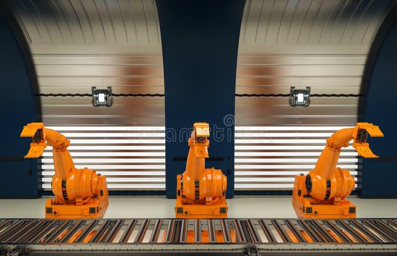 Mechaniczne ręki z konwejer linią ilustracja wektor