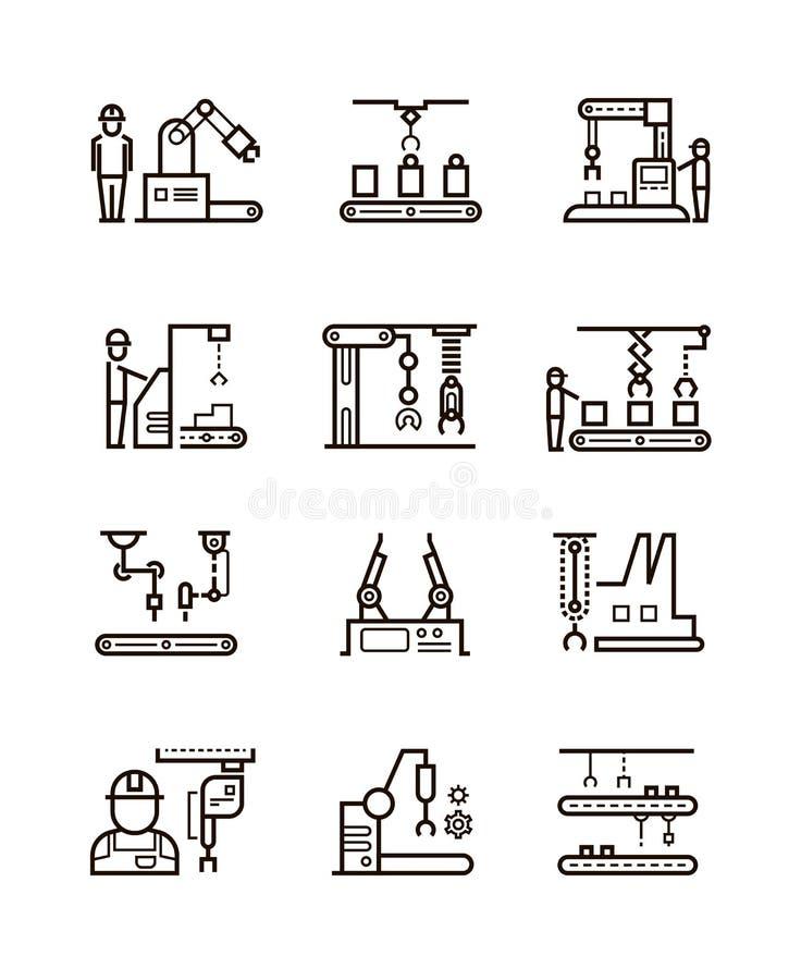 Mechaniczne rękodzielnicze linie montażowe i automatyczny konwejer z manipulantami wykładają wektorowe ikony royalty ilustracja