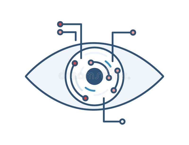 Mechaniczny lub elektroniczny oko Sztuczna inteligencja, cześć technika, mądrze technologia, innowacja technologiczna cyfrowy wiz ilustracji