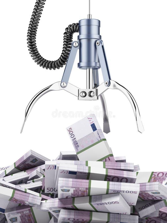Mechaniczny pazur z euro royalty ilustracja