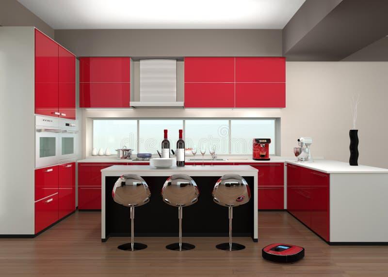 Mechaniczny próżniowy cleaner w nowożytnym kuchennym wnętrzu ilustracja wektor
