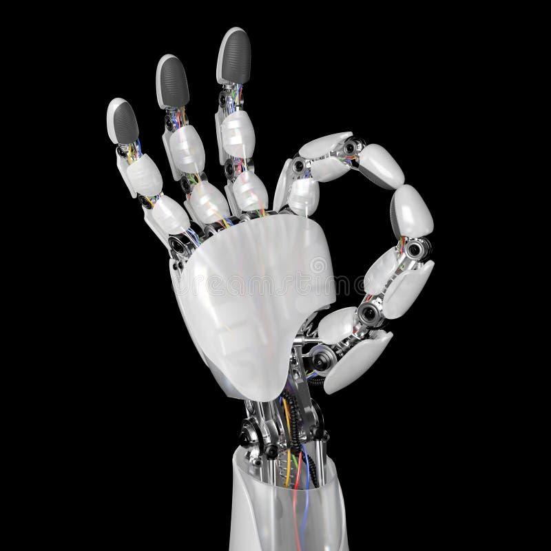 Mechaniczny ręk przedstawień ok znak na Czarnym tle 3d odpłacają się z workpath royalty ilustracja