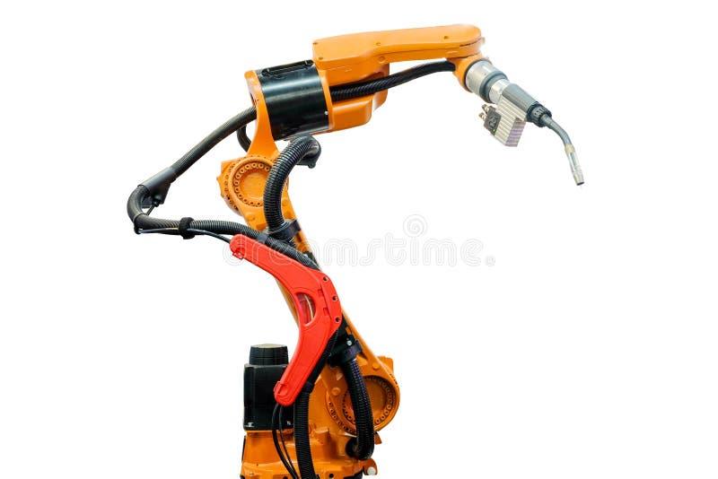 Mechaniczny spaw dla pracy spawki na mądrze fabryce, przemysł 4 obraz royalty free