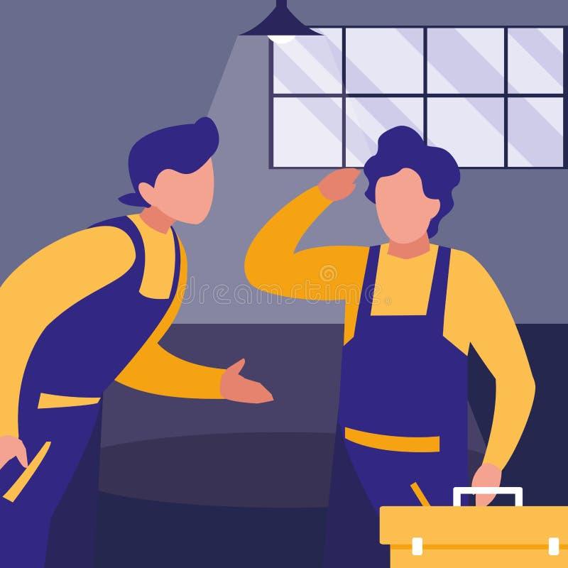 Mechaników pracownicy z toolbox charakterami ilustracja wektor