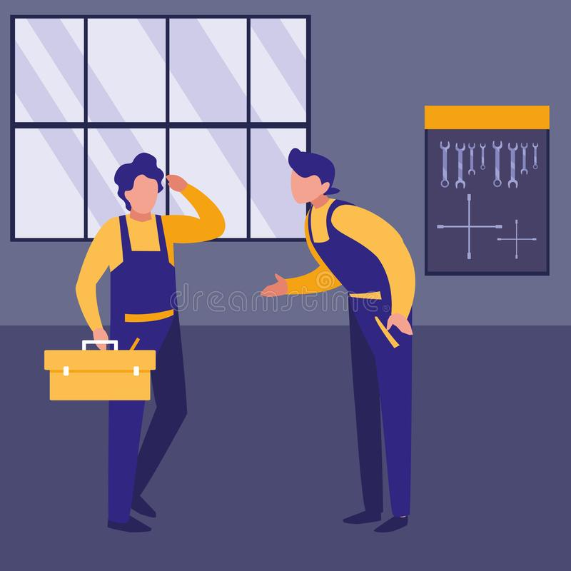 Mechaników pracownicy z toolbox charakterami royalty ilustracja