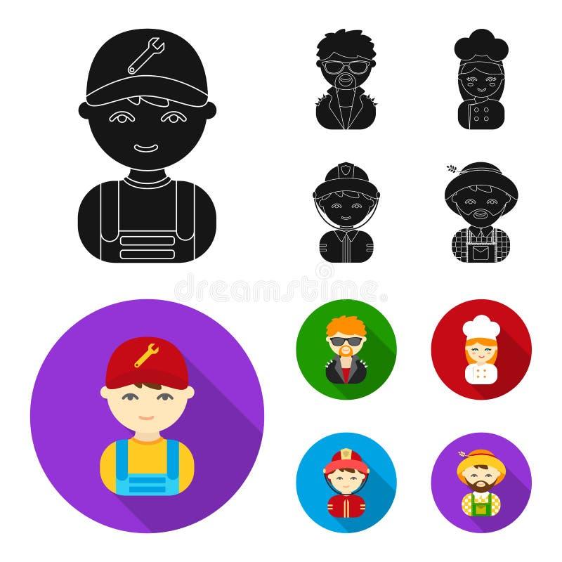 Mechanik, artysta estradowy, kucharz, palacz Zawód ustalone inkasowe ikony w czarnym, mieszkanie symbolu stylowy wektorowy zapas royalty ilustracja