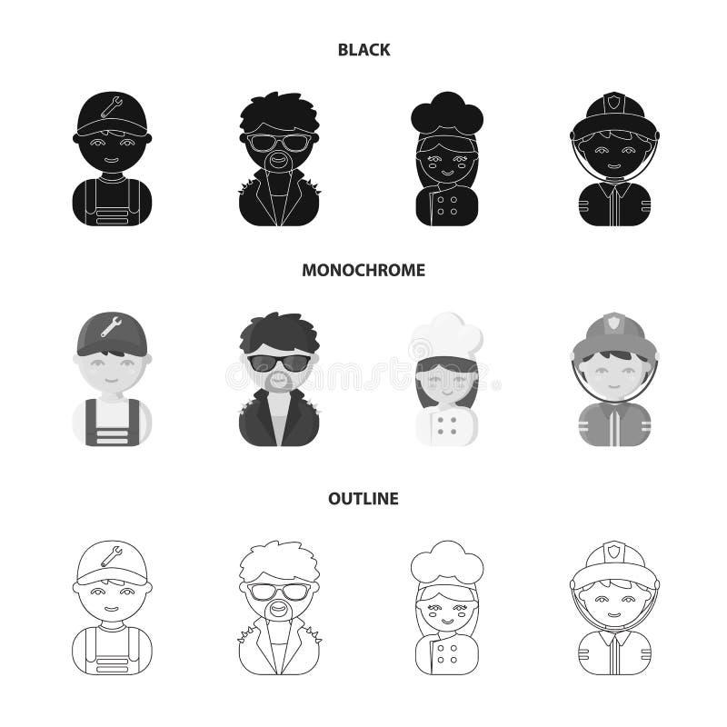 Mechanik, artysta estradowy, kucharz, palacz Zawód ustalone inkasowe ikony w czarnym, monochromatyczny, konturu stylowy wektorowy royalty ilustracja