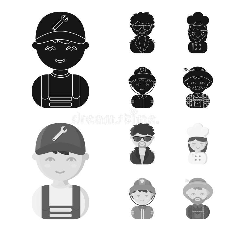 Mechanik, artysta estradowy, kucharz, palacz Zawód ustalone inkasowe ikony w czarnym, monochromu symbolu stylowy wektorowy zapas ilustracja wektor