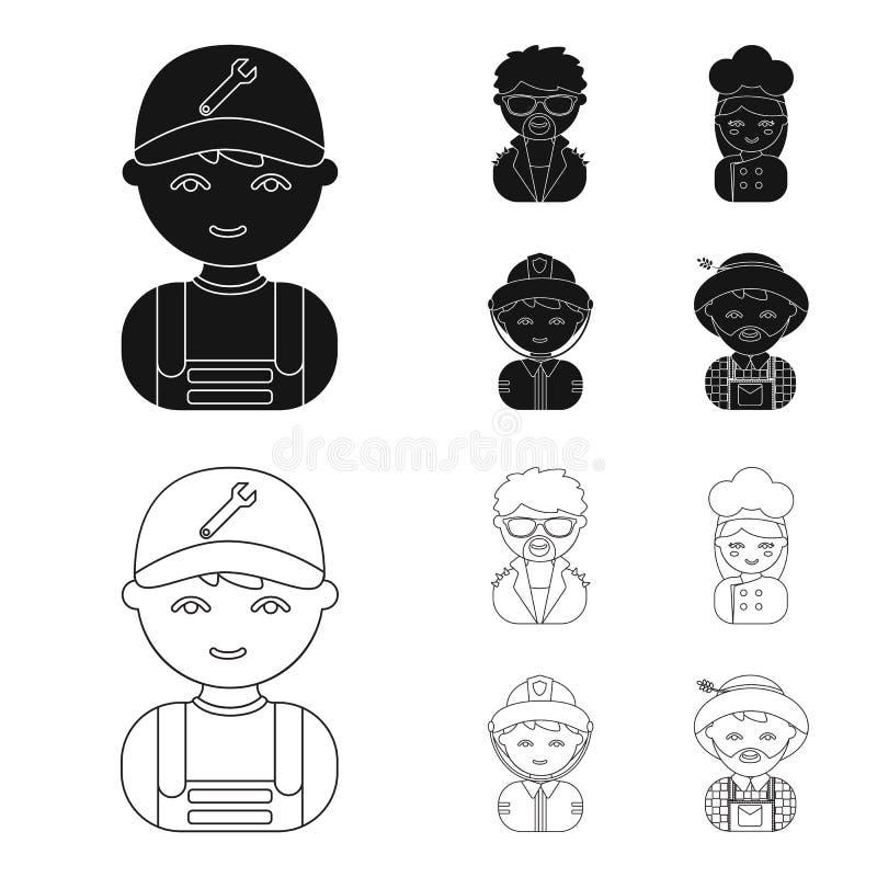 Mechanik, artysta estradowy, kucharz, palacz Zawód ustalone inkasowe ikony w czerni, konturu symbolu stylowy wektorowy zapas royalty ilustracja