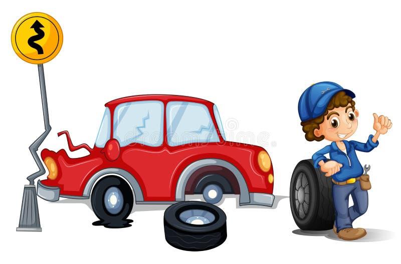 Mechanik blisko wypadku samochodowego terenu ilustracja wektor