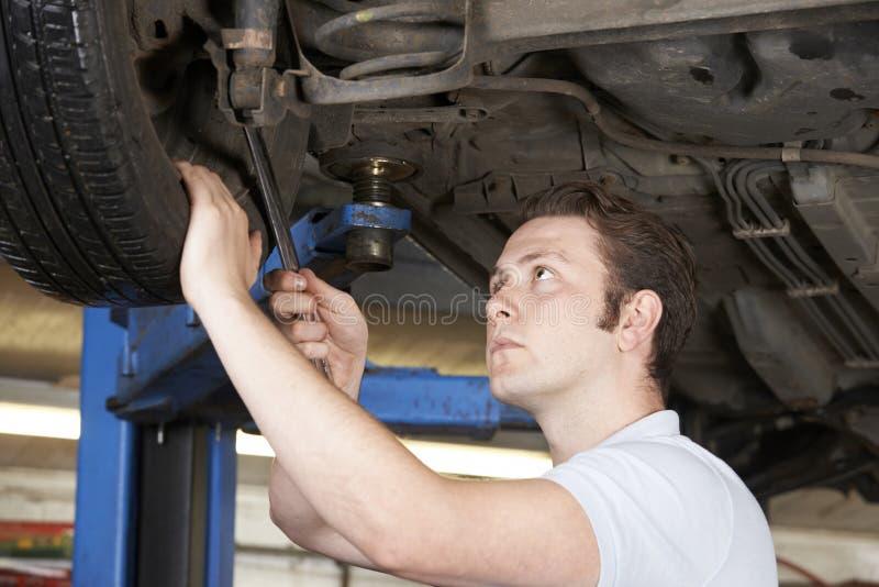 Download Mechanik Pracuje Na Kole Pod Samochodem Zdjęcie Stock - Obraz złożonej z pojazd, ludzie: 57669758
