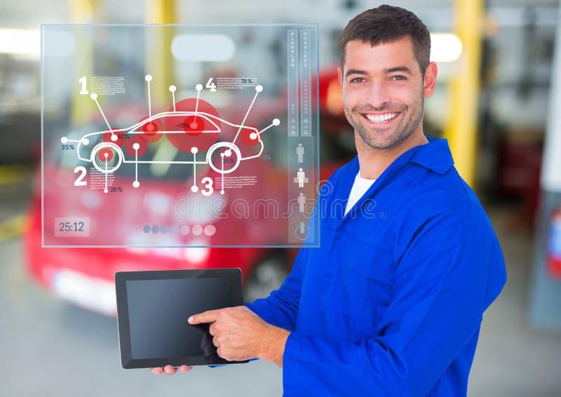 Mechanik używa cyfrową pastylkę przeciw samochodowych mechaników interfejsowi w tle zdjęcia stock