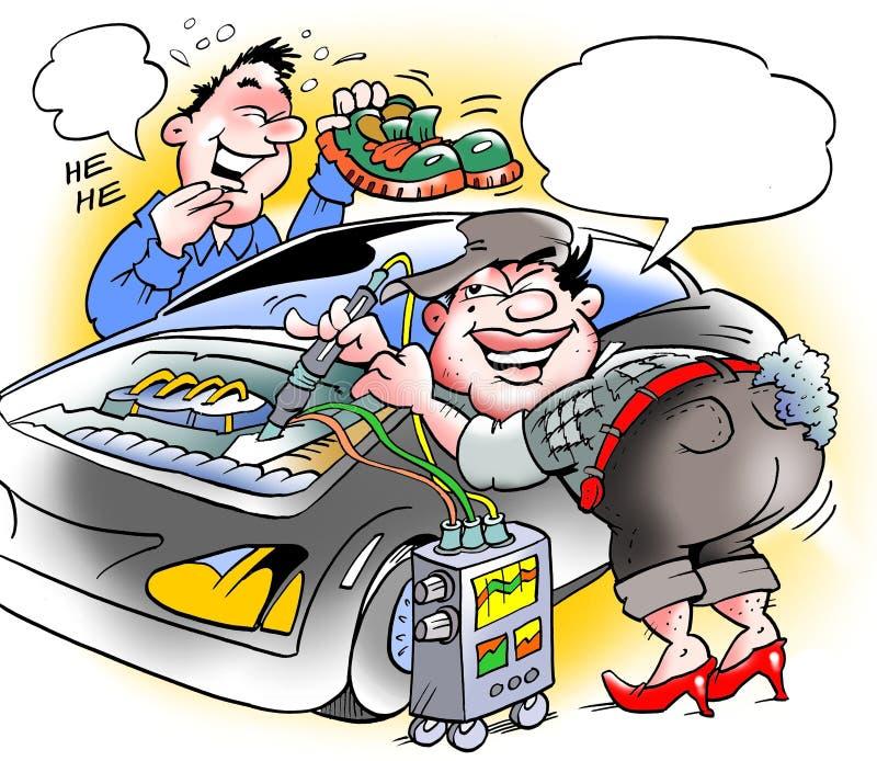 Mechanik w szpilkach i czerwieni wargach ilustracja wektor
