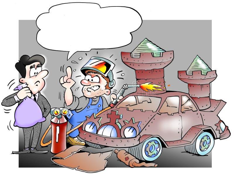 Mechanika odbudowywać samochód od świstka roszować ilustracji