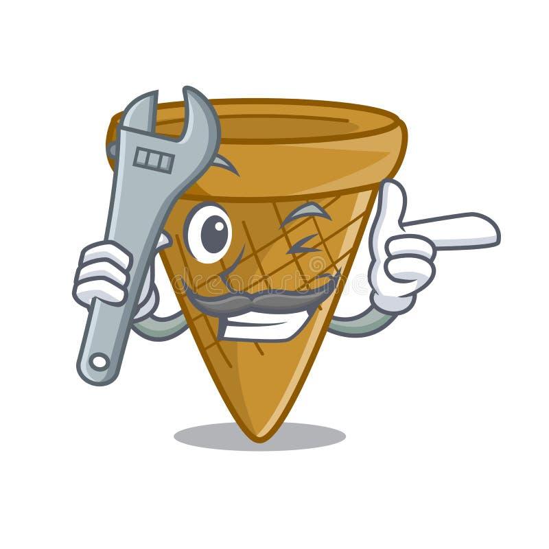 Mechanika opłatka słodki rożek odizolowywający na maskot ilustracji