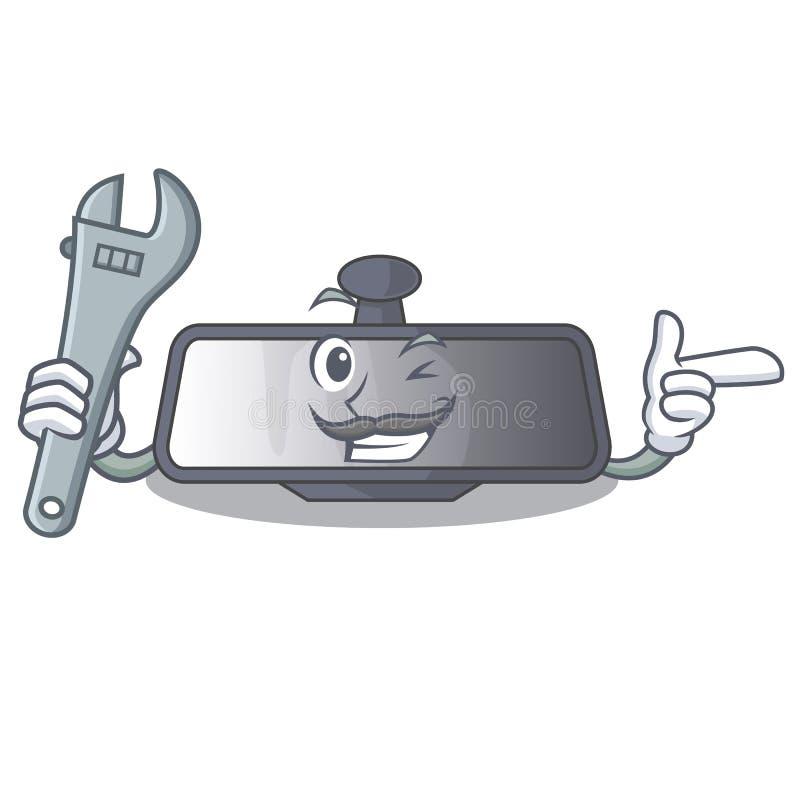 Mechanika tylni widoku lustra miniatura kształta charakter ilustracji
