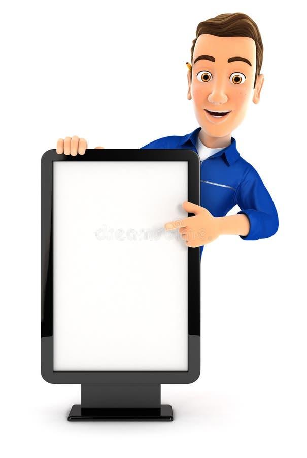 Mechaniker 3d, der auf leere Anschlagtafel zeigt lizenzfreie abbildung