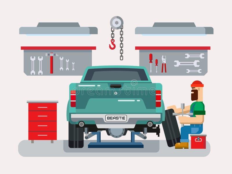 Mechaniker Repairs Car in der Garage stock abbildung