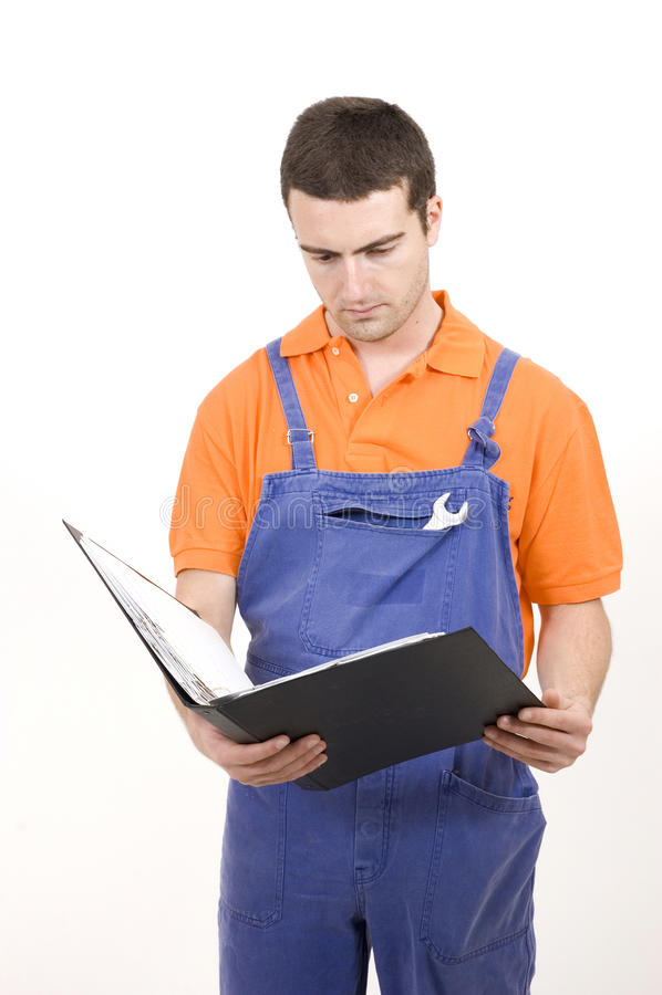 Mechanikeranweisungen manuell stockfotos