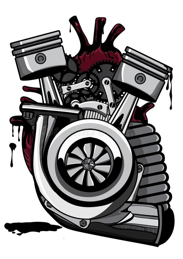Mechanisch hart | + Illustrator die dinking kleurt stock illustratie