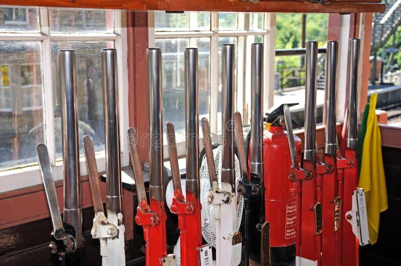 Mechanisch hefboomkader binnen seinhuisje, Highley royalty-vrije stock afbeeldingen