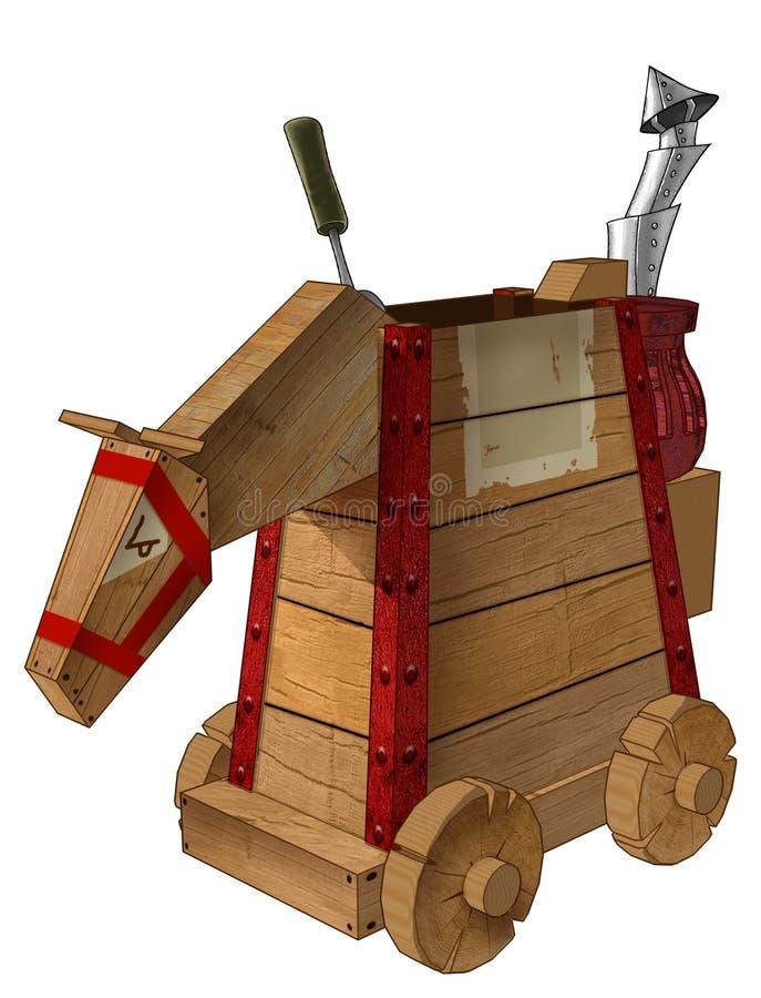 Mechanisch houten paard royalty-vrije illustratie