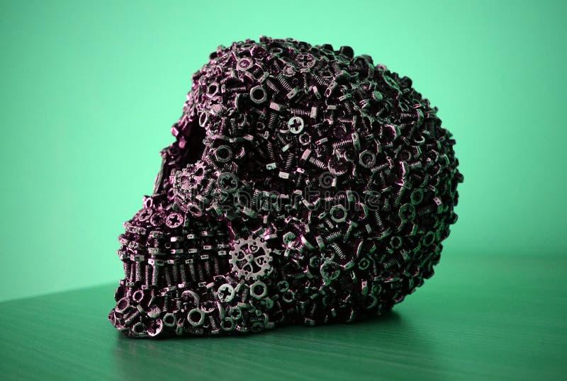 Mechanisch schedelhoofd stock afbeelding