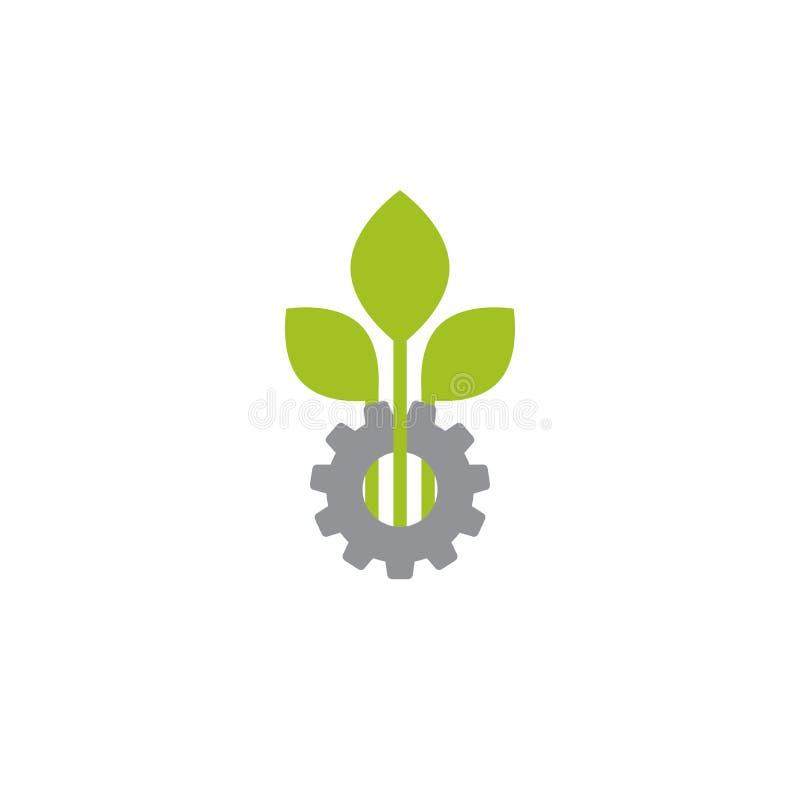 Mechanisch toestel en drie groene bladeren Geïsoleerdj op witte achtergrond vector illustratie