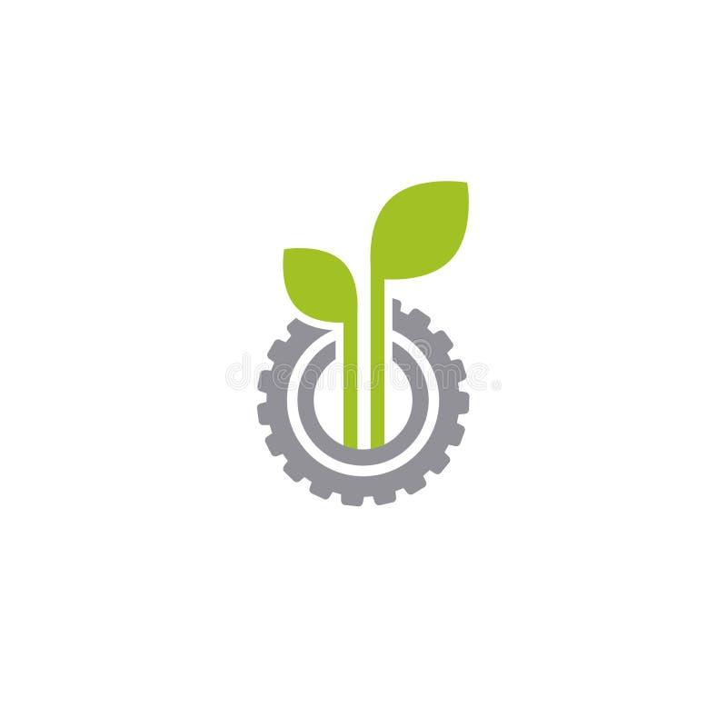 Mechanisch toestel en drie groene bladeren Ge?soleerdj op witte achtergrond Pictogram van de Eco het vriendschappelijke technolog royalty-vrije illustratie