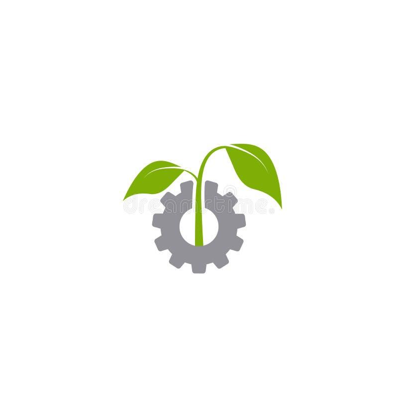 Mechanisch toestel en drie groene bladeren Ge?soleerdj op witte achtergrond Pictogram van de Eco het vriendschappelijke technolog vector illustratie