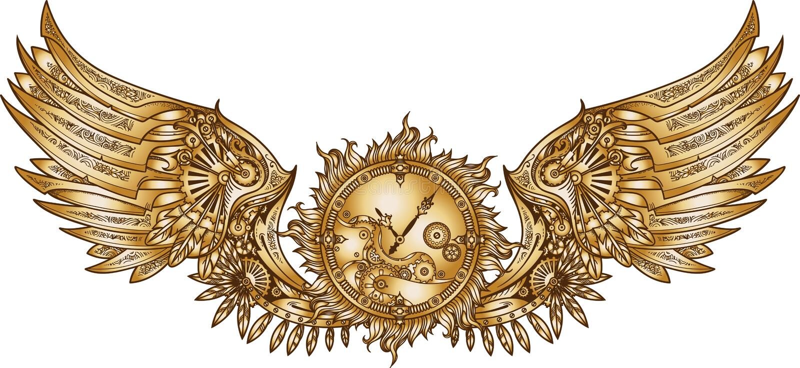 Mechanische Flügel in steampunk Art mit Uhrwerk stock abbildung
