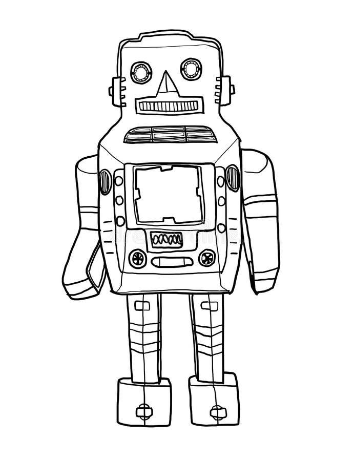 Mechanische gezeichnete nette Linie Kunst illustratio des Roboters vintageToy Hand stock abbildung