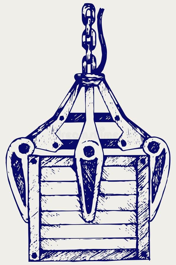 Mechanische Hand und Holzkiste des Kranes vektor abbildung