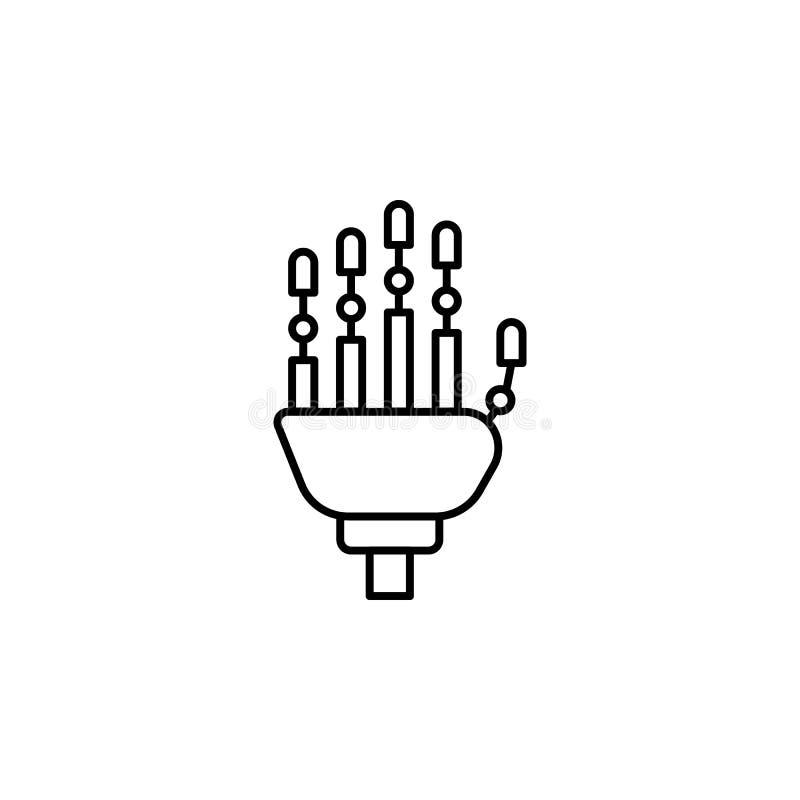 Mechanische Handroboterhandikone Element der zukünftigen Technologieikone für bewegliche Konzept und Netz apps Dünne Linie mechan lizenzfreie abbildung