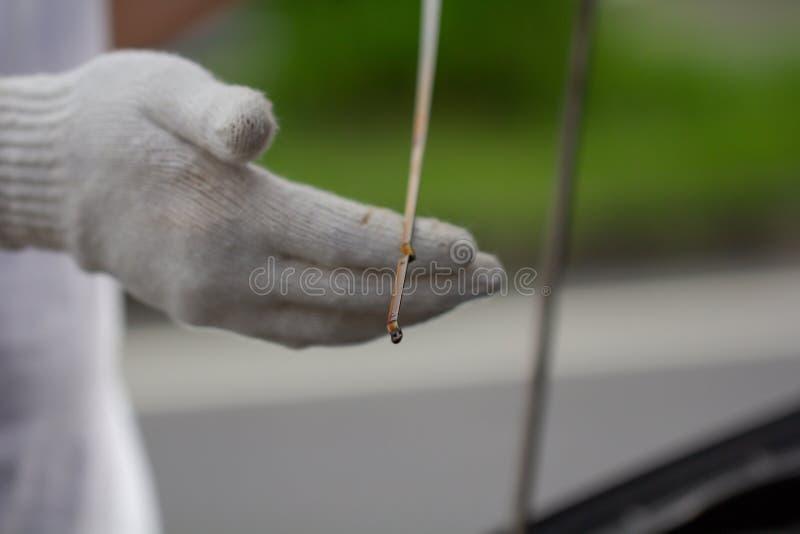 Mechanische het herstellen auto, die het niveau van de motorolie in auto met ope controleren stock fotografie