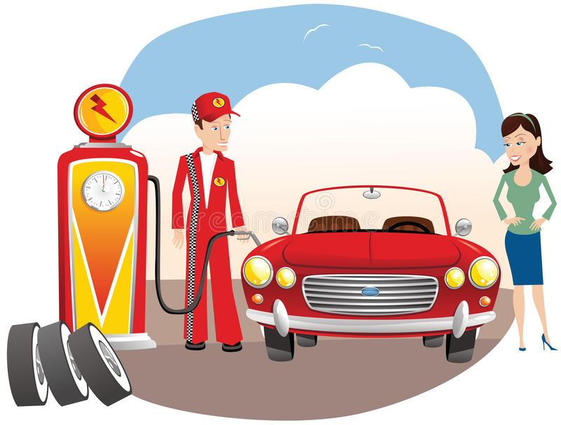 Mechanische het vullen auto met gas vector illustratie