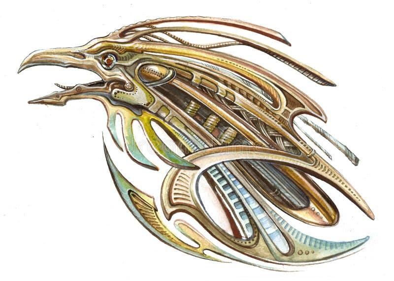 Mechanische skreamer van de ijzervogel stock illustratie