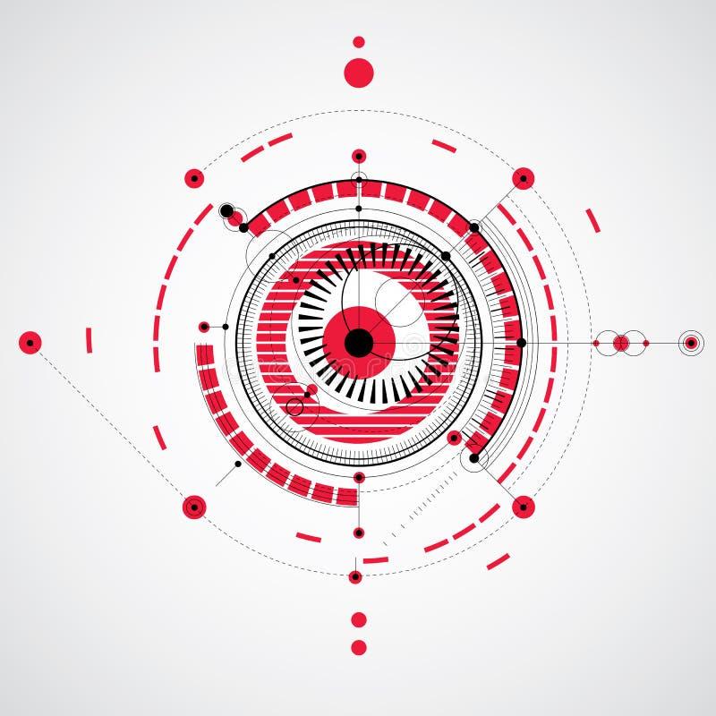 Mechanischer Entwurf, technische Konstruktionszeichnung des roten Vektors mit Kreisen a vektor abbildung