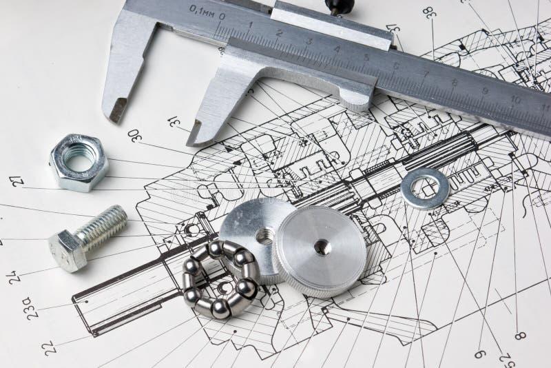 Mechanischer Entwurf und Schieber lizenzfreie stockfotos